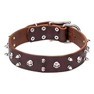 "'Real Biker"" Fashion leather Cane Corso Collar with Spikes and Skulls"