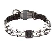 Black Stainless Steel Cane Corso Pinch Collar with Click Lock Buckle - 1/11 inch (2.25 mm) prong's diameter