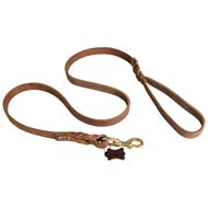 Sturdy Soft Leather Cane Corso Leash with Additional Ring for Walking and Training