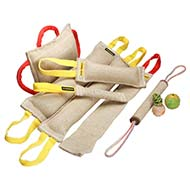 Improved Bite Training Set including 9 Items - Jute Tugs, Pad and Rubber Balls