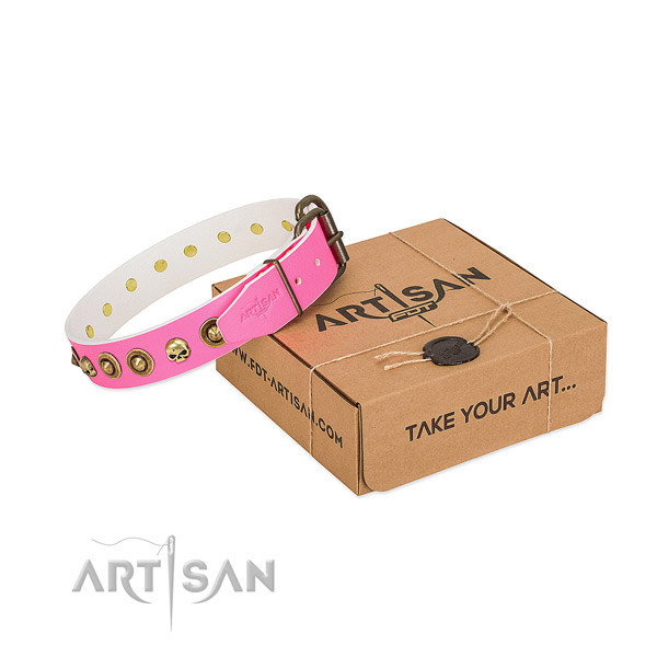 Full grain leather collar with trendy decorations for your pet