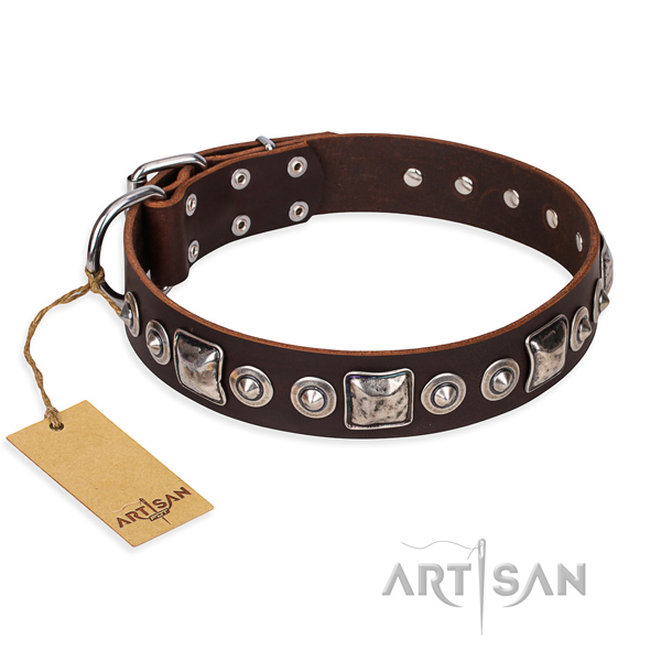 Full grain genuine leather dog collar made of high quality material with corrosion proof fittings
