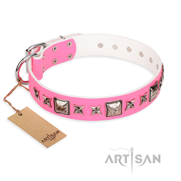 Genuine leather dog collar made of soft to touch material with rust resistant fittings
