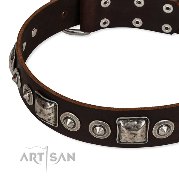 Soft natural genuine leather dog collar crafted for your handsome canine