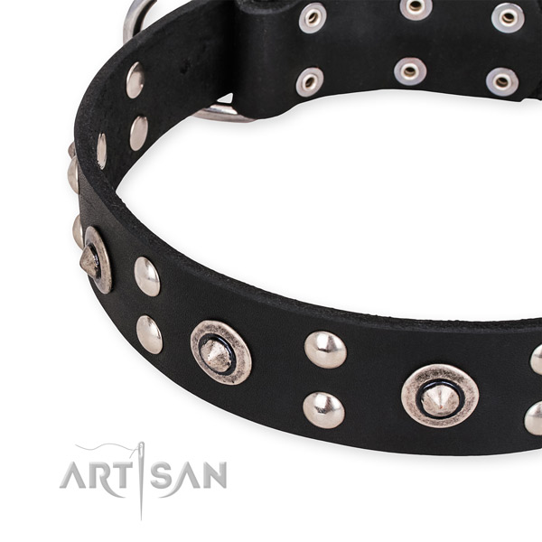 Full grain genuine leather collar with corrosion proof D-ring for your beautiful four-legged friend