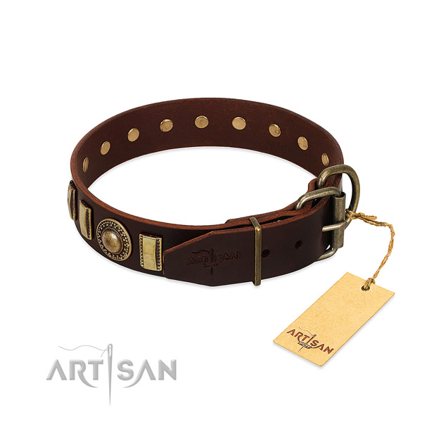 Best quality genuine leather dog collar with corrosion proof fittings