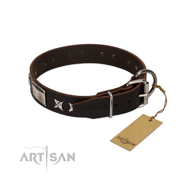 Easy to adjust collar of genuine leather for your impressive canine