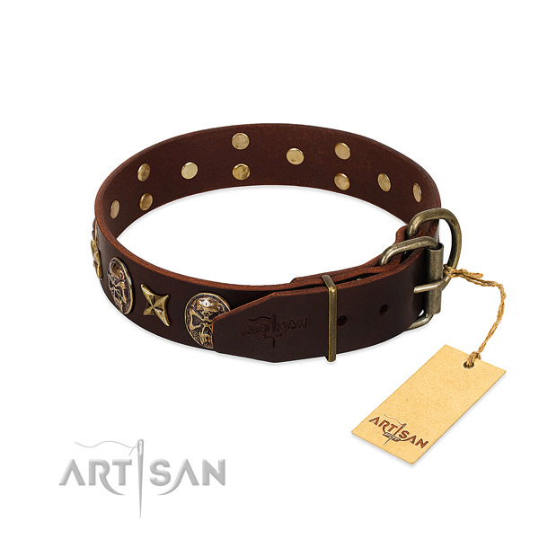 Reliable decorations on full grain genuine leather dog collar for your canine