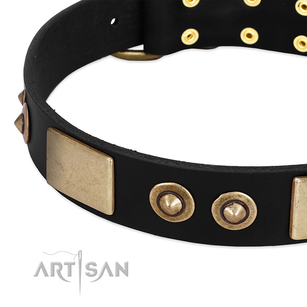 Durable D-ring on genuine leather dog collar for your doggie
