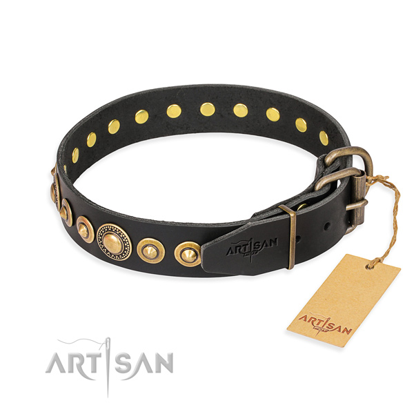 Top rate natural genuine leather collar handcrafted for your pet