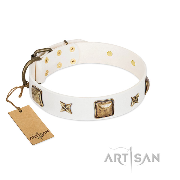 Adorned genuine leather dog collar for daily use