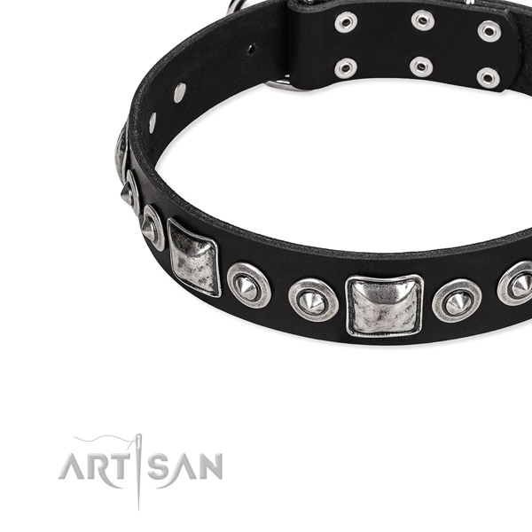Full grain leather dog collar made of quality material with embellishments