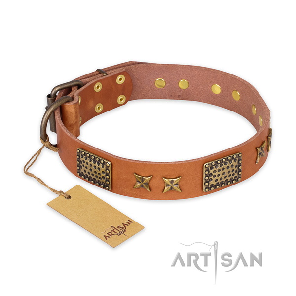Remarkable full grain natural leather dog collar with rust-proof D-ring