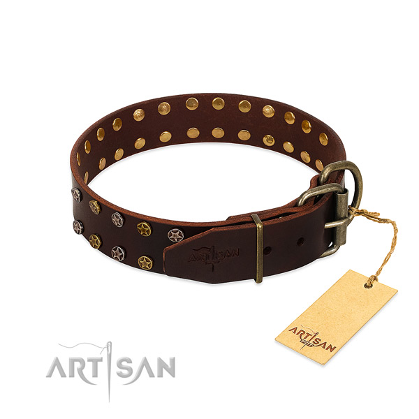Comfortable wearing full grain leather dog collar with amazing studs