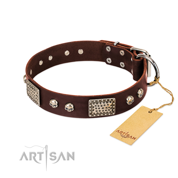 Easy wearing natural genuine leather dog collar for stylish walking your canine