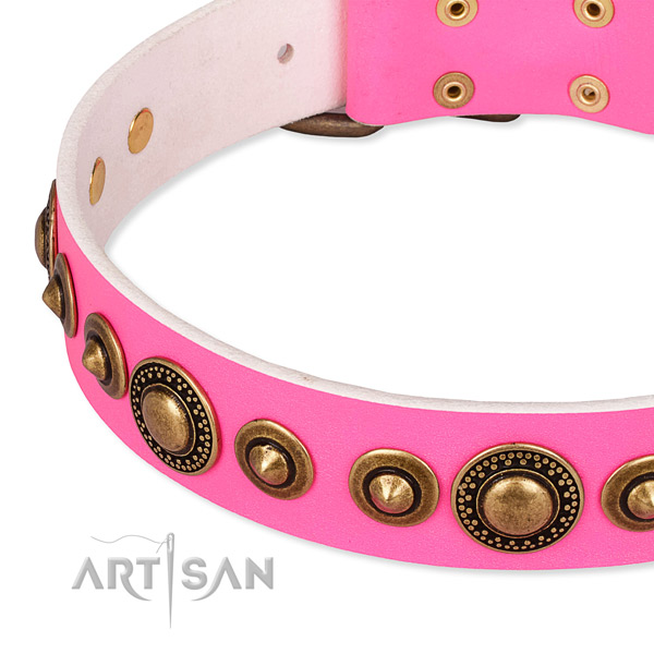 Soft to touch leather dog collar handcrafted for your beautiful four-legged friend