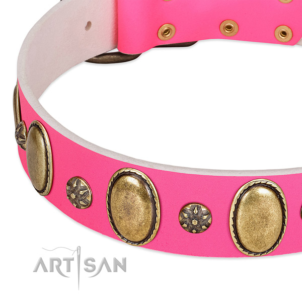 Handy use soft full grain genuine leather dog collar with adornments