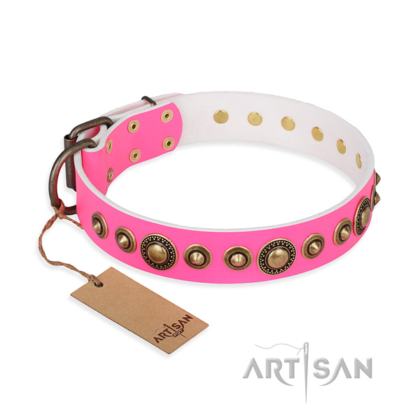 Quality natural genuine leather collar handmade for your dog