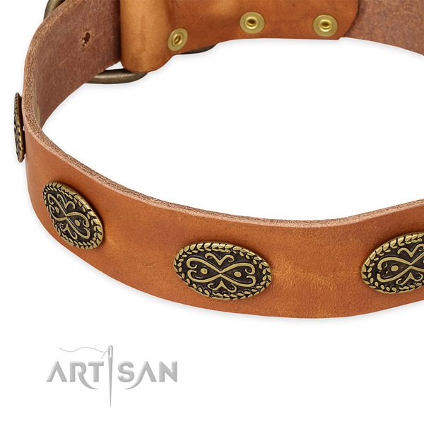 Adjustable full grain natural leather collar for your attractive canine