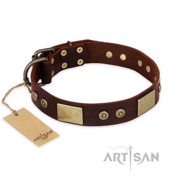 Extraordinary natural genuine leather dog collar for daily use