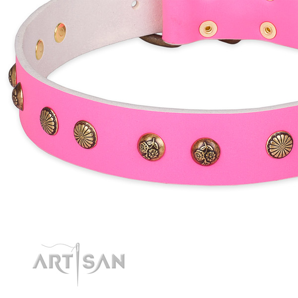 Comfortable genuine leather collar for your stylish four-legged friend