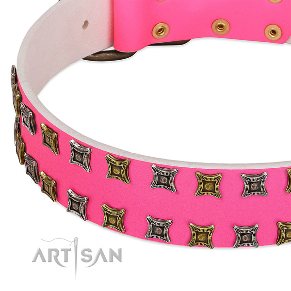 Full grain genuine leather dog collar with studs for your stylish doggie