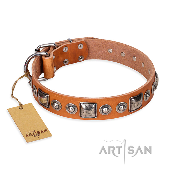 Leather dog collar made of reliable material with corrosion proof hardware