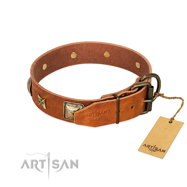 Natural genuine leather dog collar with durable D-ring and embellishments