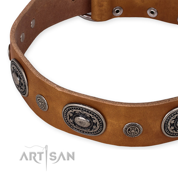 Best quality full grain leather dog collar handmade for your stylish pet