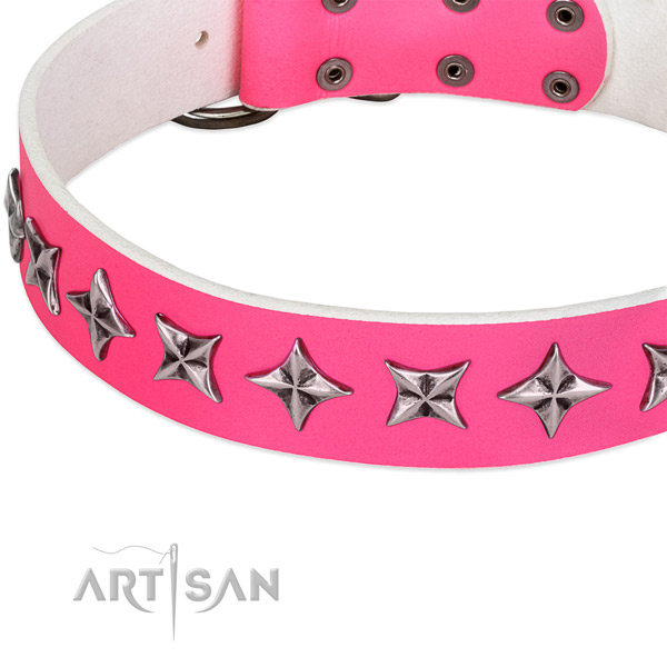 Basic training decorated dog collar of quality leather