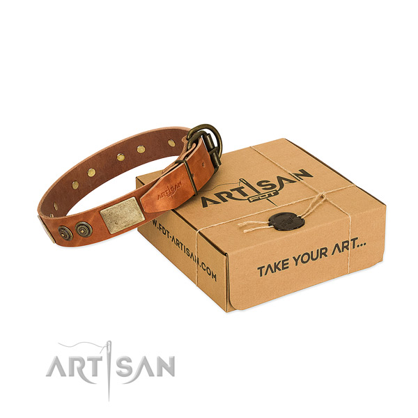 Corrosion proof hardware on genuine leather dog collar for comfortable wearing