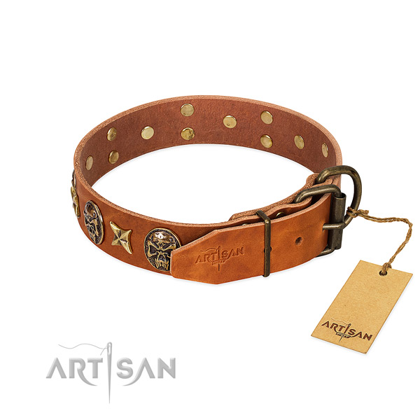 Full grain genuine leather dog collar with corrosion proof buckle and adornments