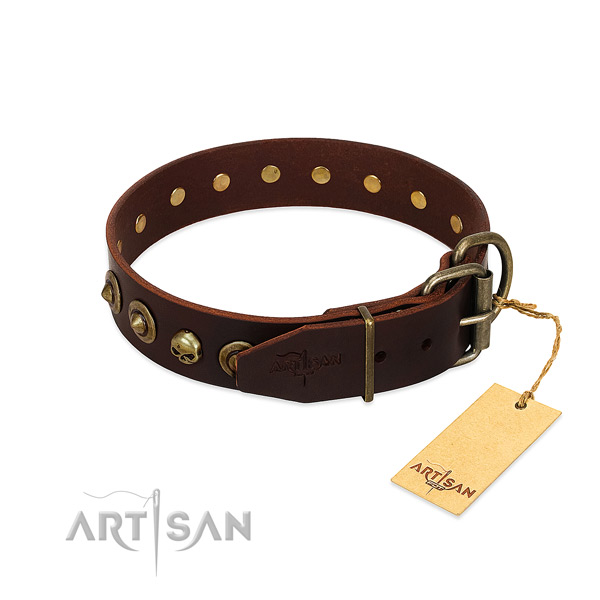Full grain genuine leather collar with exceptional studs for your doggie