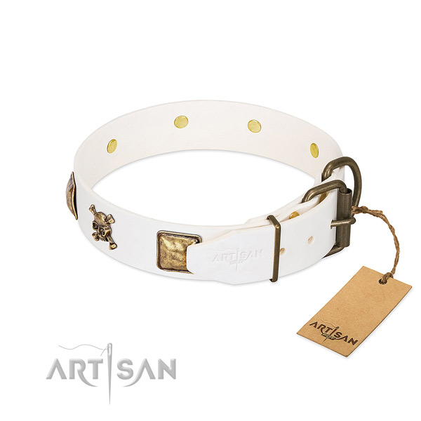 Stylish design leather dog collar with corrosion resistant embellishments