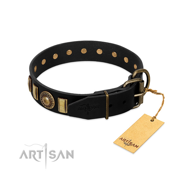 Soft to touch natural leather dog collar with studs