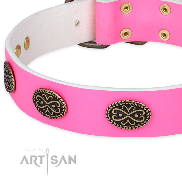 Leather dog collar with adornments for comfy wearing