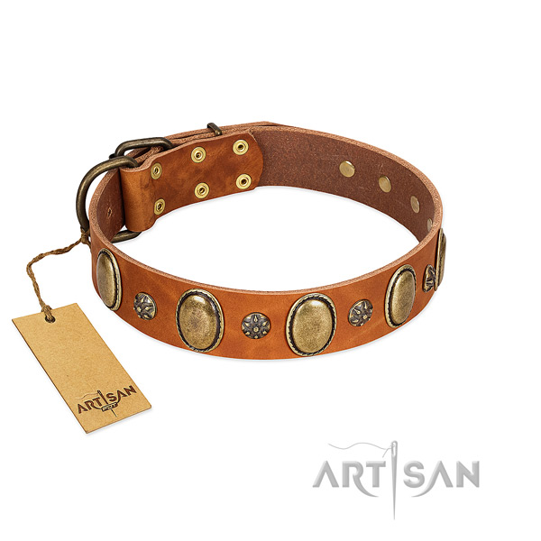 Handy use reliable genuine leather dog collar with decorations