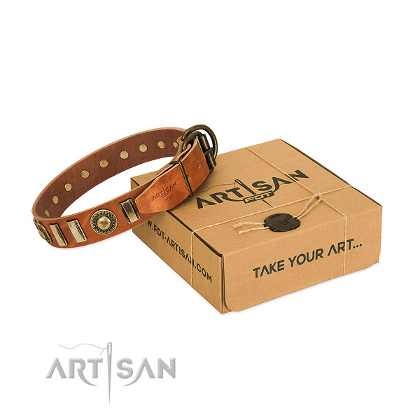Best quality natural leather dog collar with rust-proof D-ring