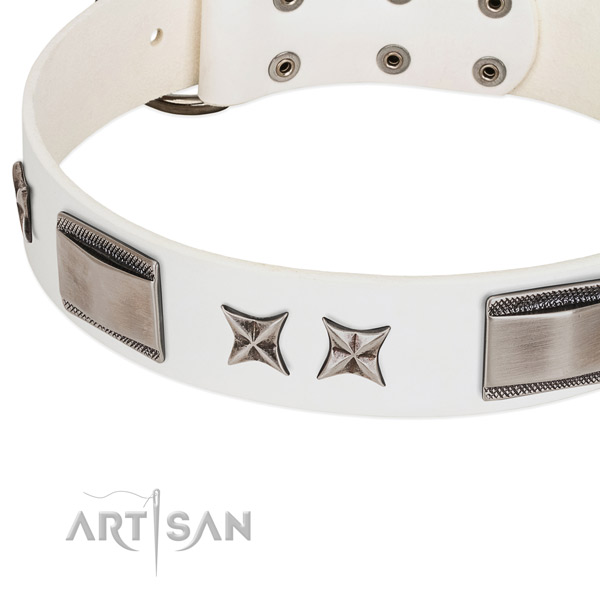 Flexible full grain natural leather dog collar with reliable buckle