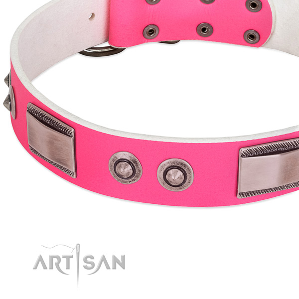 Exceptional full grain natural leather collar with studs for your canine