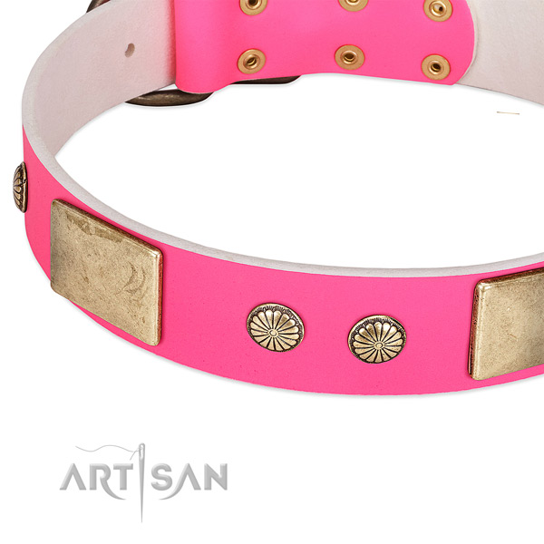 Rust-proof fittings on full grain natural leather dog collar for your four-legged friend