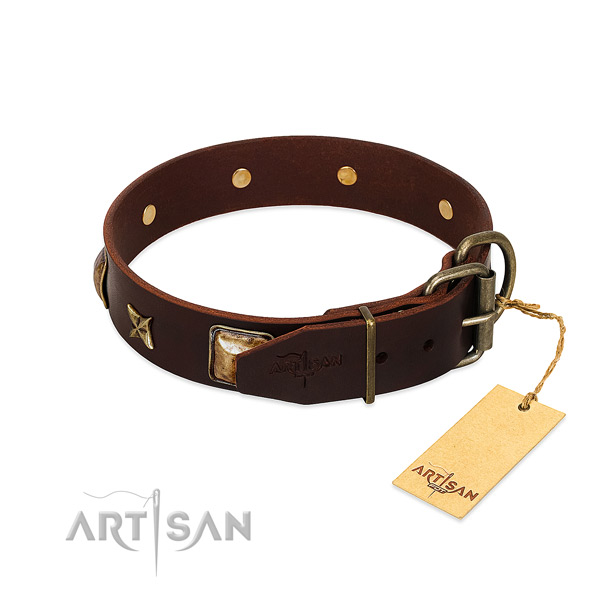 Genuine leather dog collar with corrosion proof traditional buckle and studs