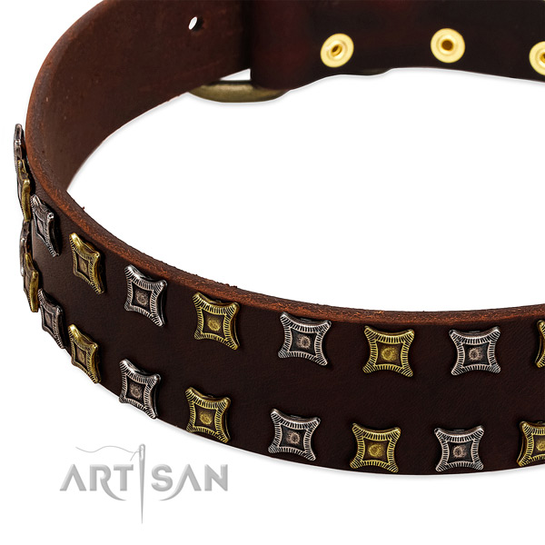 Durable full grain natural leather dog collar for your stylish pet