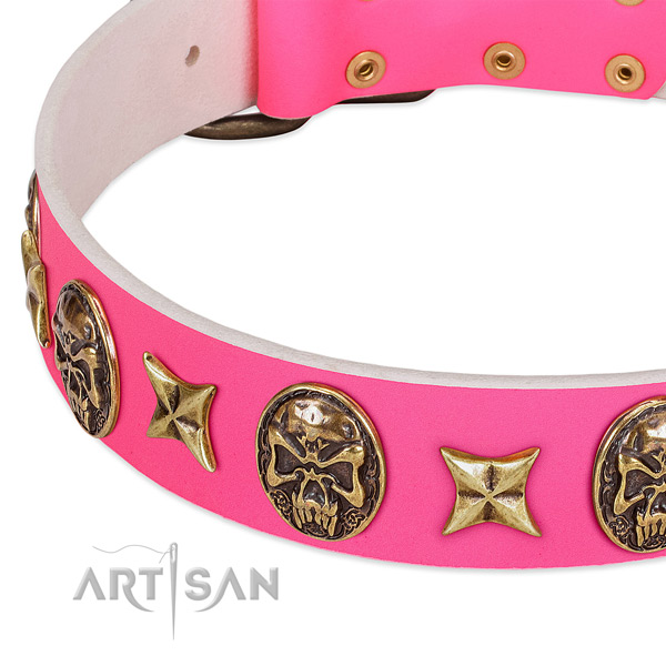 Full grain natural leather dog collar with exquisite decorations
