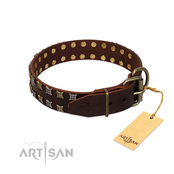 Top notch full grain leather dog collar created for your canine