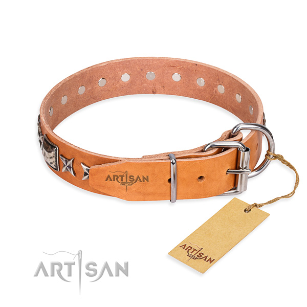 Finest quality decorated dog collar of natural leather