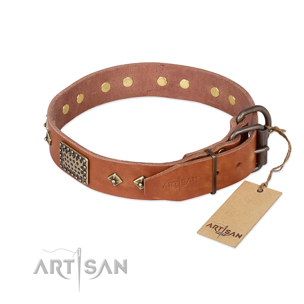 Natural leather dog collar with strong buckle and adornments