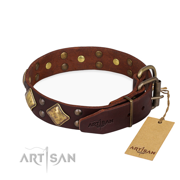Genuine leather dog collar with exquisite corrosion resistant adornments