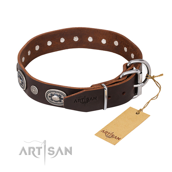 Reliable genuine leather dog collar created for comfy wearing