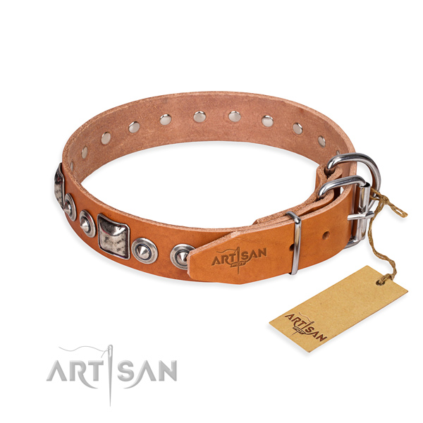 Top notch genuine leather dog collar crafted for daily use